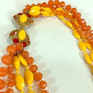 Amazing Clasp 1960's Vintage orange & yellow bead